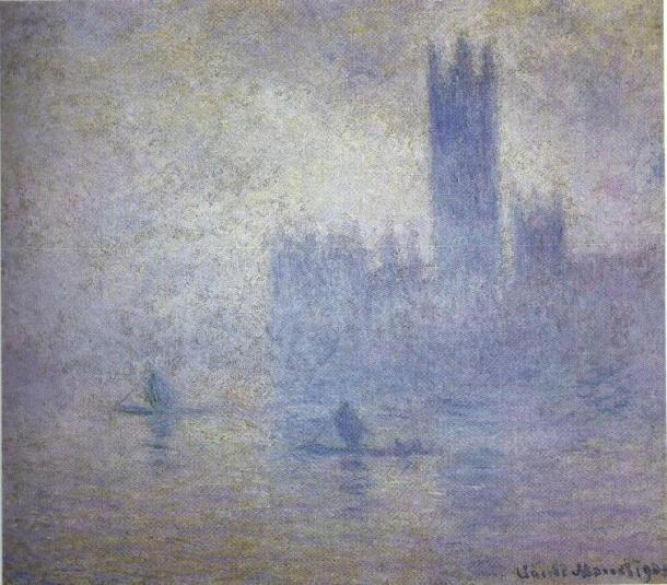 Parliament, effect of fog by Claude Monet (1903)